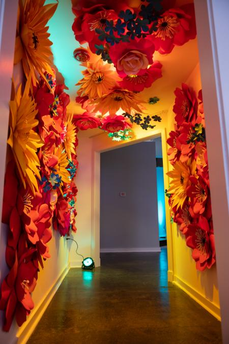 Paper flower installation at Kaleidoscope