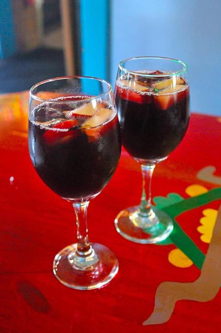 Sangria served in wine glasses at Lista's