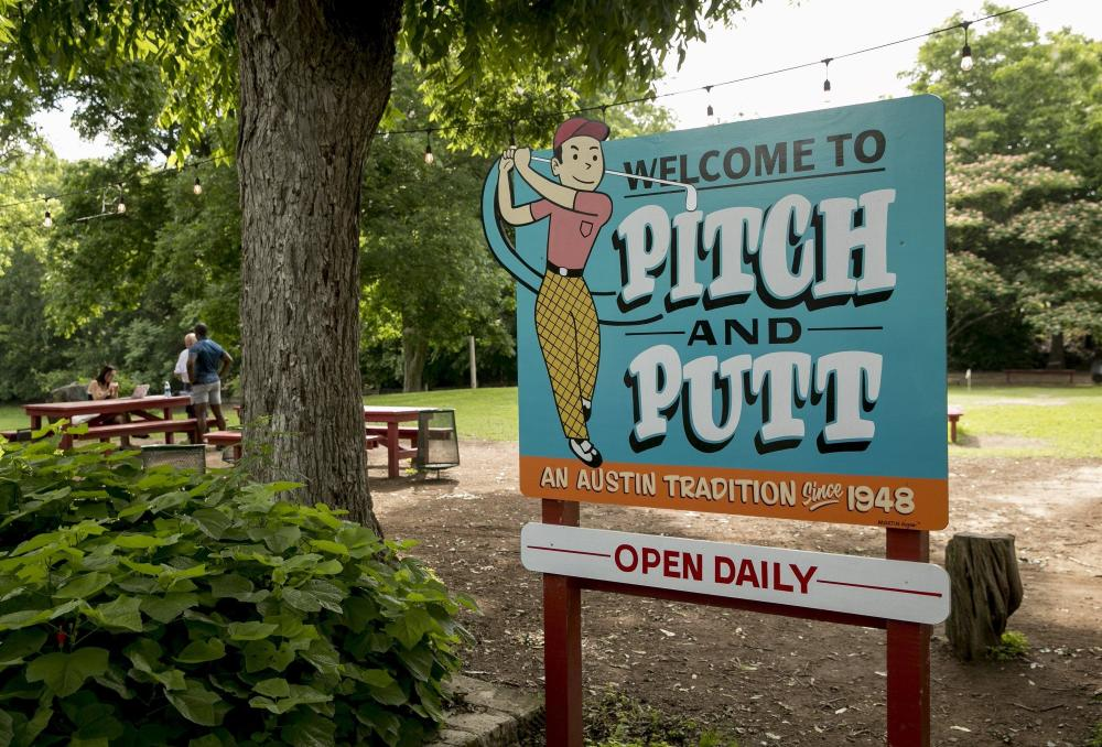 Sign for Butler Park Pitch and Putt in Austin Texas Open Daily since 1948