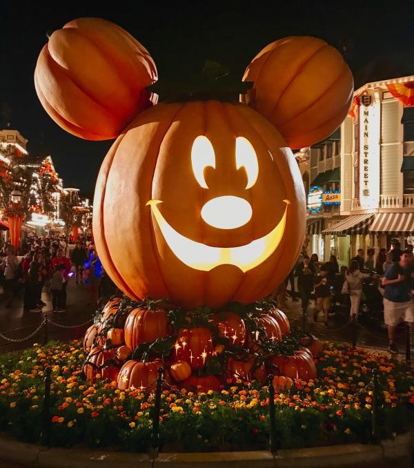 Image of the giant Mickey Pumpkin inside Disneyland