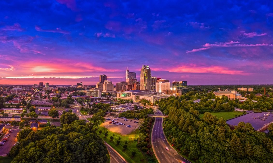 Raleigh-NC-Skyline-at-Sunset