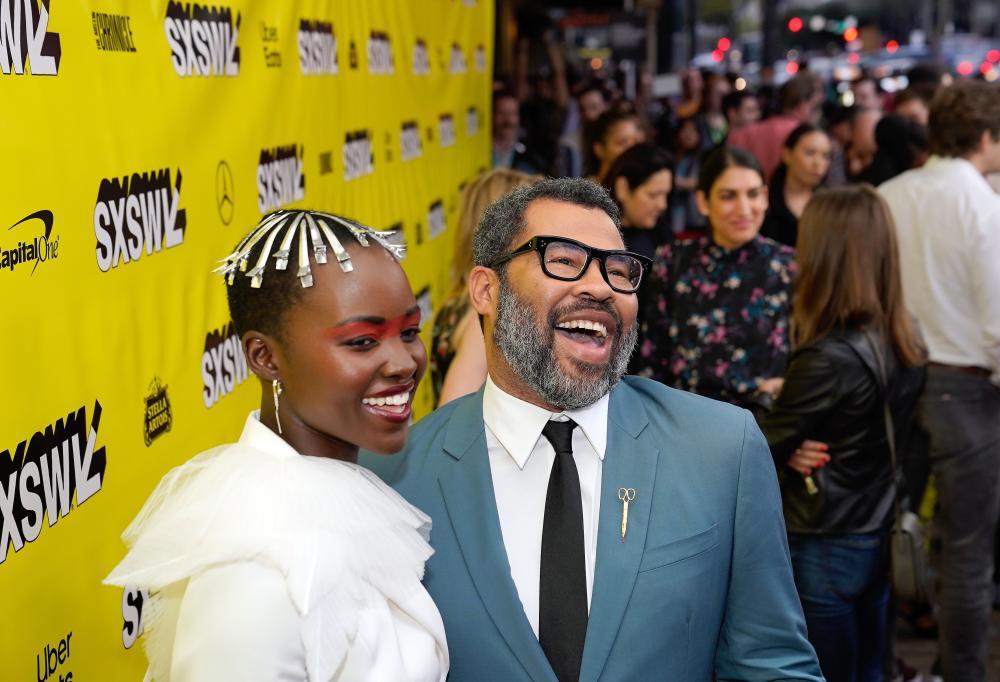 Lupita Nyongo and Jordan Peele on red carpet for SXSW Film Festival 2019
