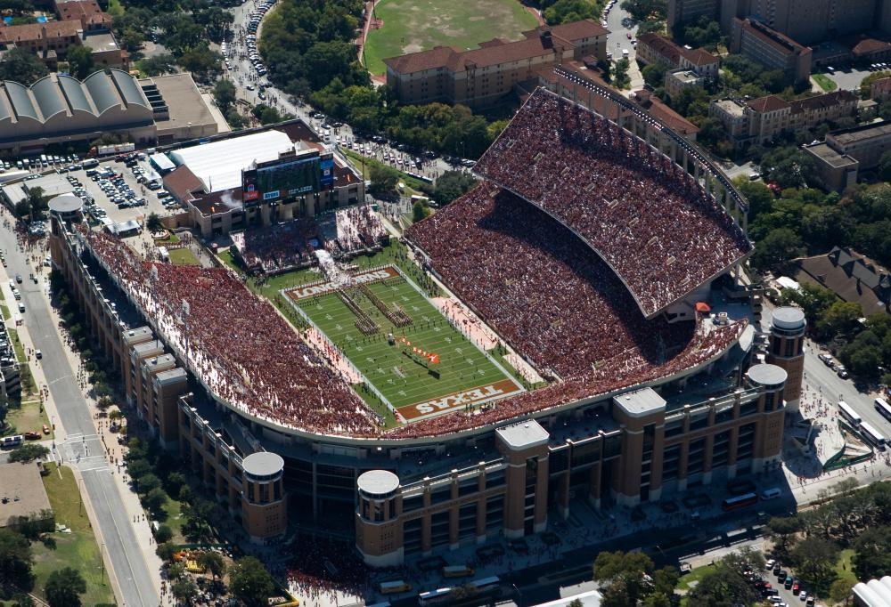 Aerial view of crowd at DKR Texas Memorial Stadium at The University of Texas at Austin