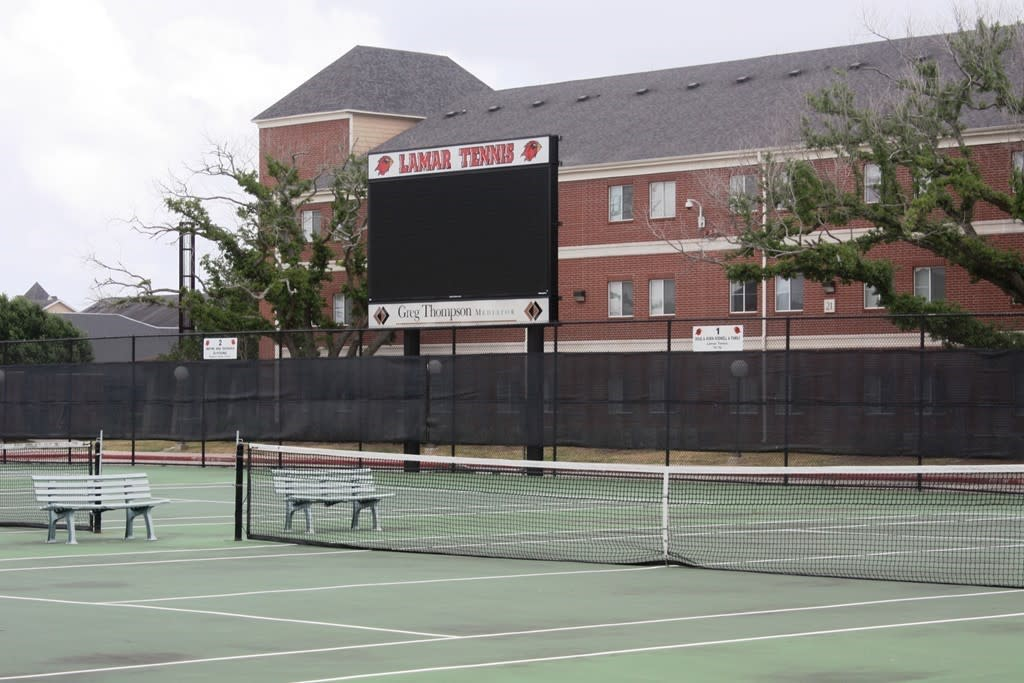 Scoreboard at the tennis courts at Lamar University in Beaumont, TX