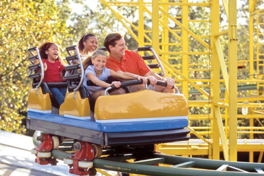 Family enjoying the new coaster Falcon's Fury at The Busch Gardens Park.