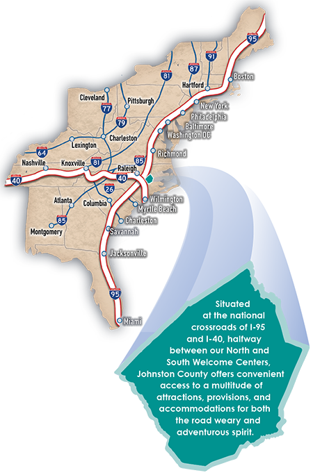 Johnston County pullout from East Coast Map on the Visitors Guide.