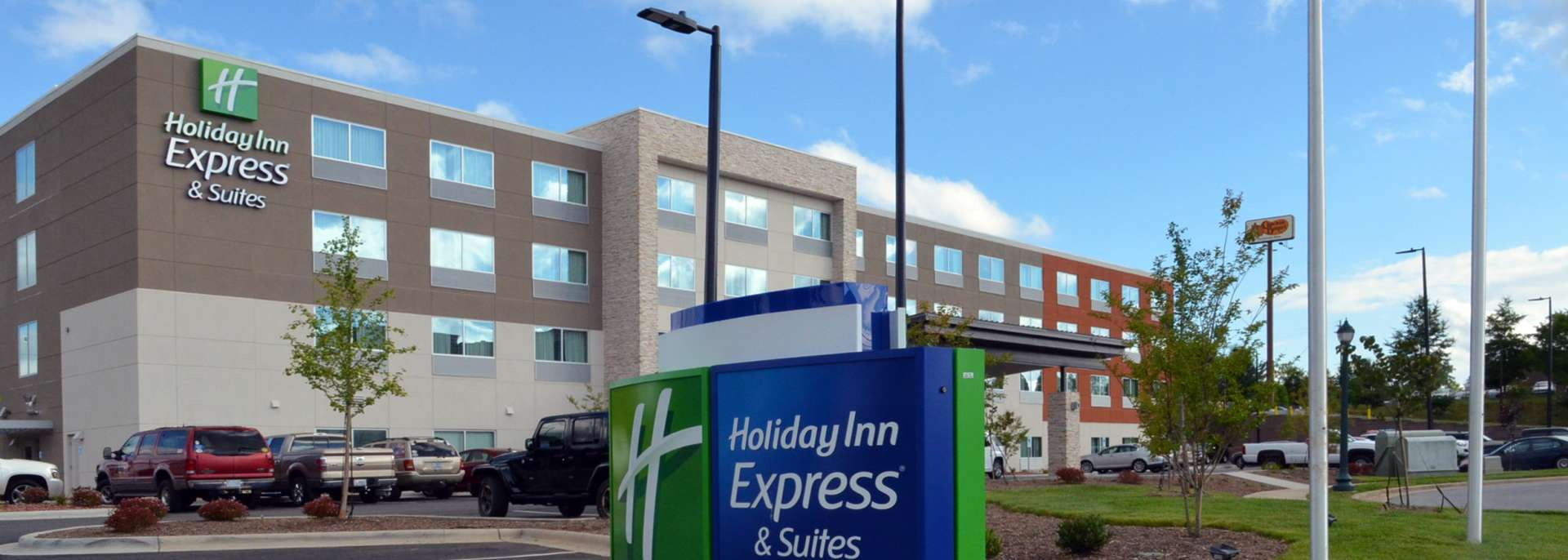 Outside the Holiday Inn Express in Salisbury, NC