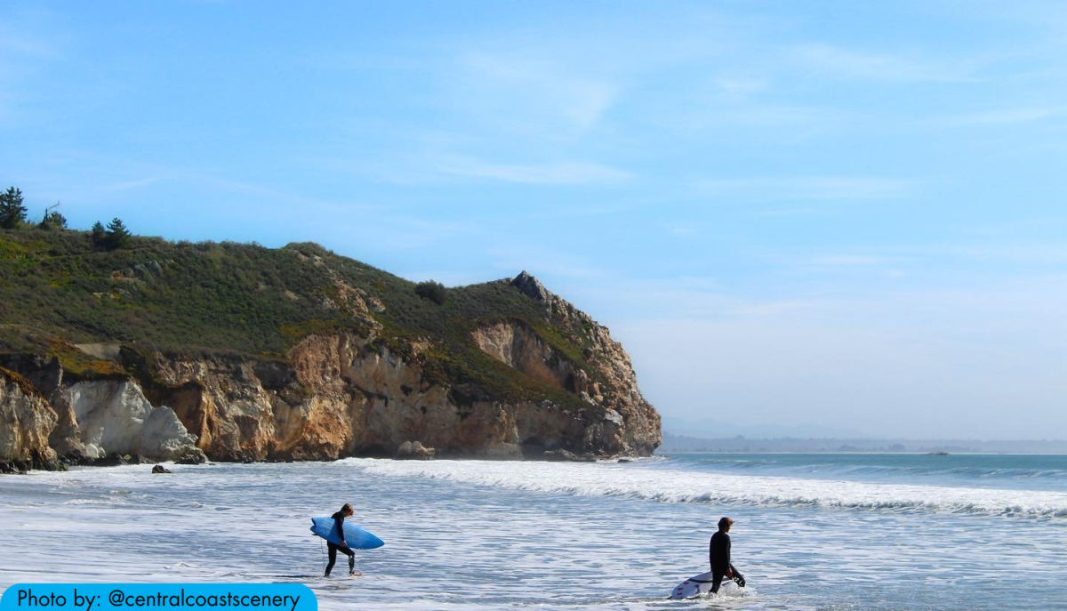 Two surfers heading into the water at Avila Beach in SLO CAL