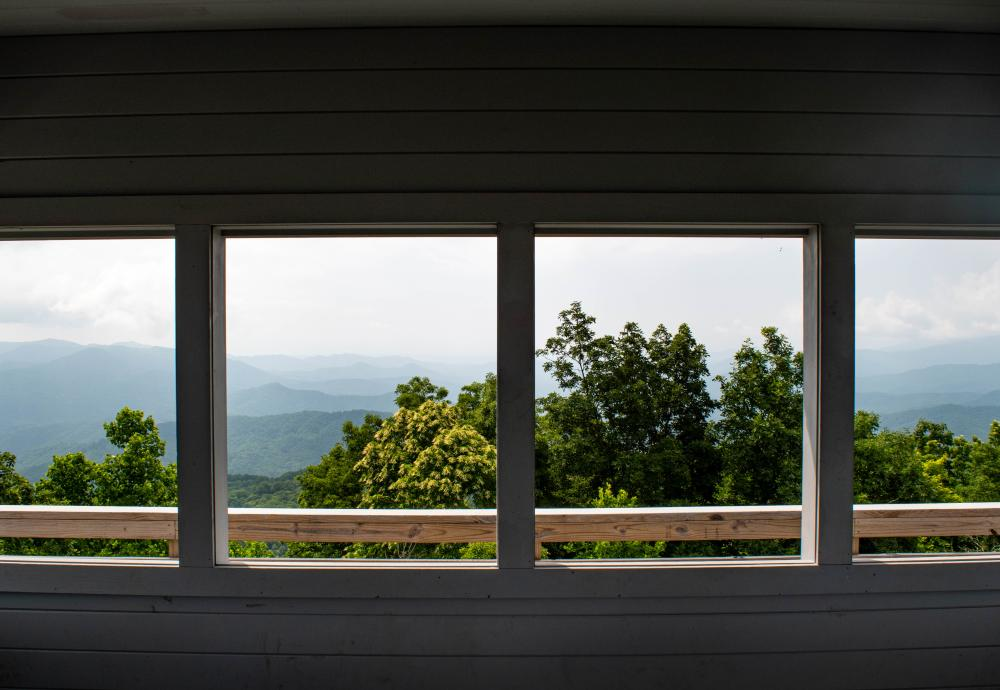 The view from inside the cab of the Rich Mountain Fire Tower on the Appalachian Trail.