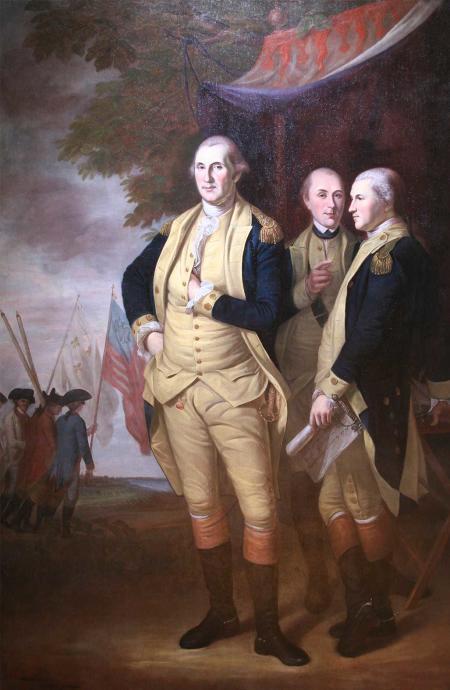 A painting of Washington, Lafayette & Tilghman at Yorktown.
