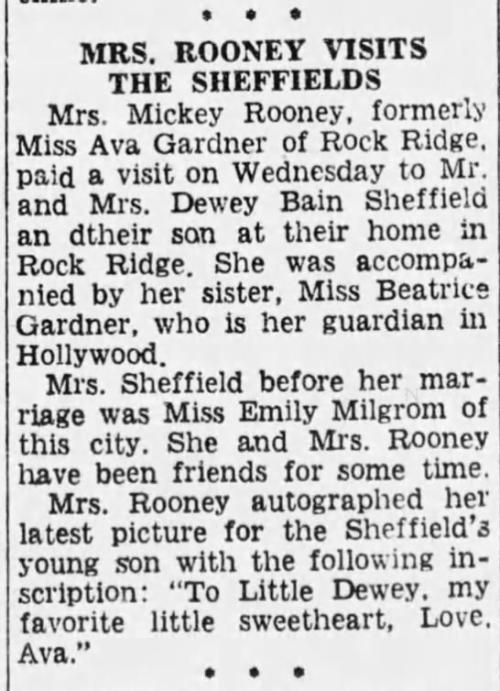 Newspaper article about Ava visiting the Sheffields after she married Mickey Rooney.