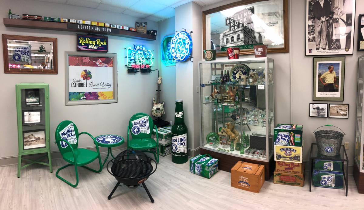 Rolling Rock Beer display at Greater Latrobe-Laurel Valley Chamber office