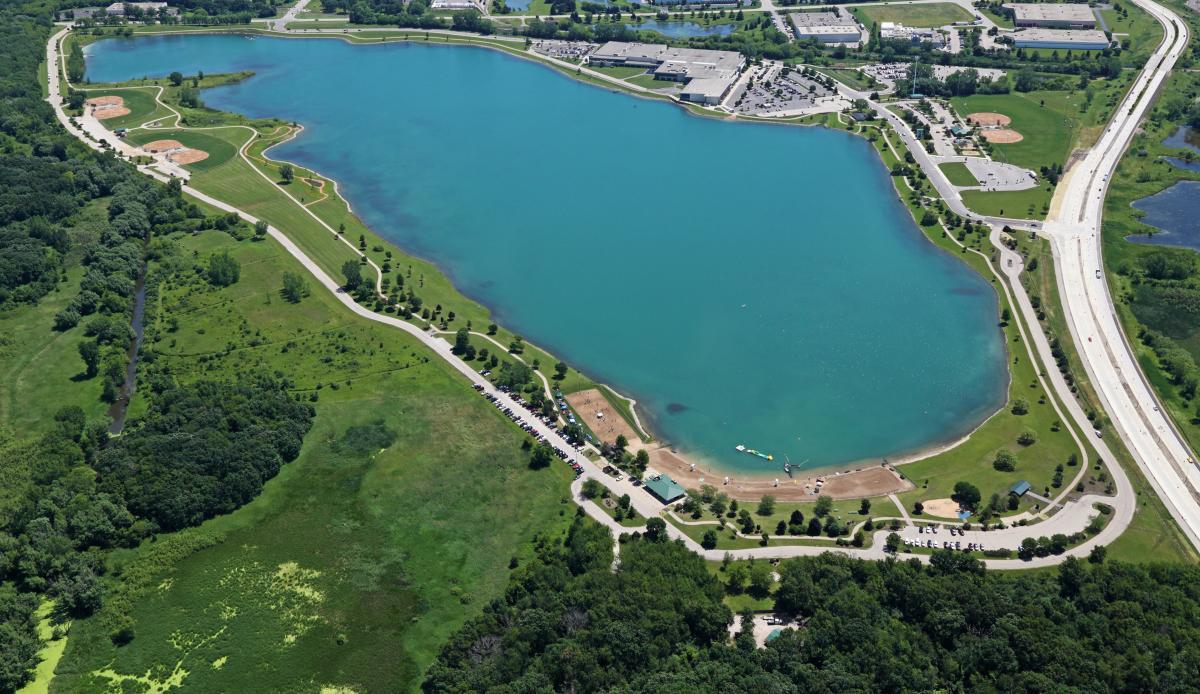 Aerial View of Prairie Springs Park from Beach side
