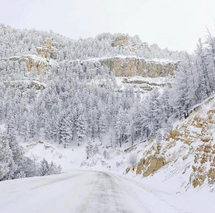 casper mountain road winter