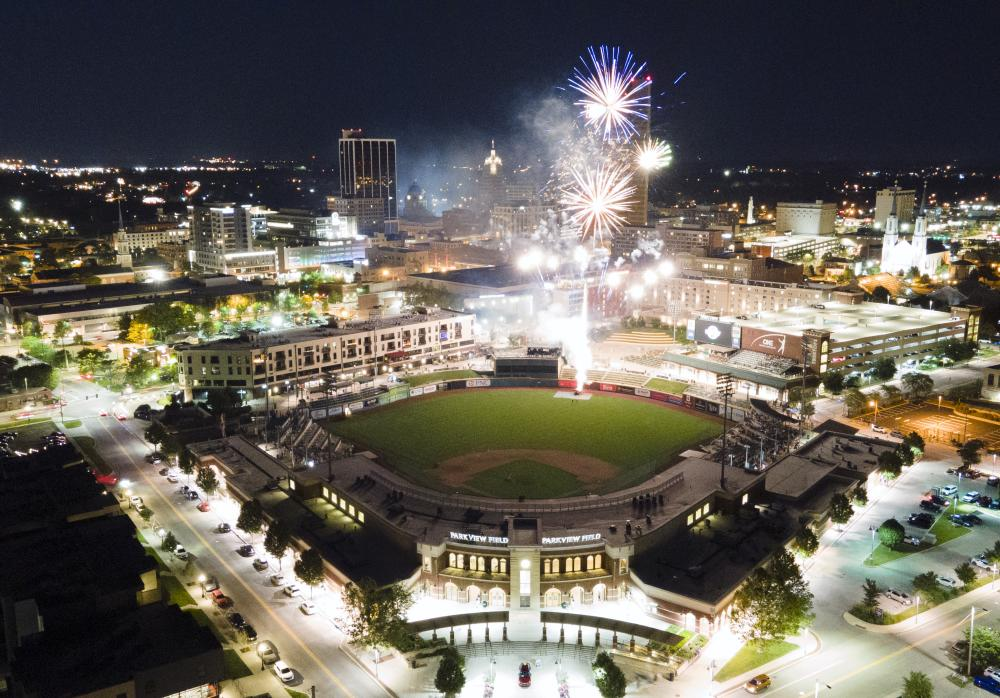 Aerial view of downtown Fort Wayne at night during fireworks