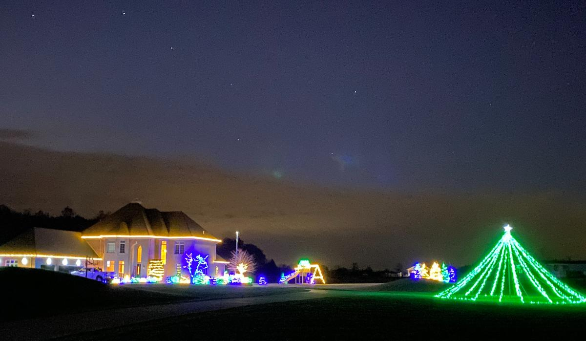 Holiday light display at 14235 Pulver Road in Fort Wayne, Indiana