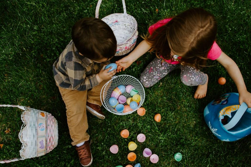 Children opening Easter eggs in SLO CAL
