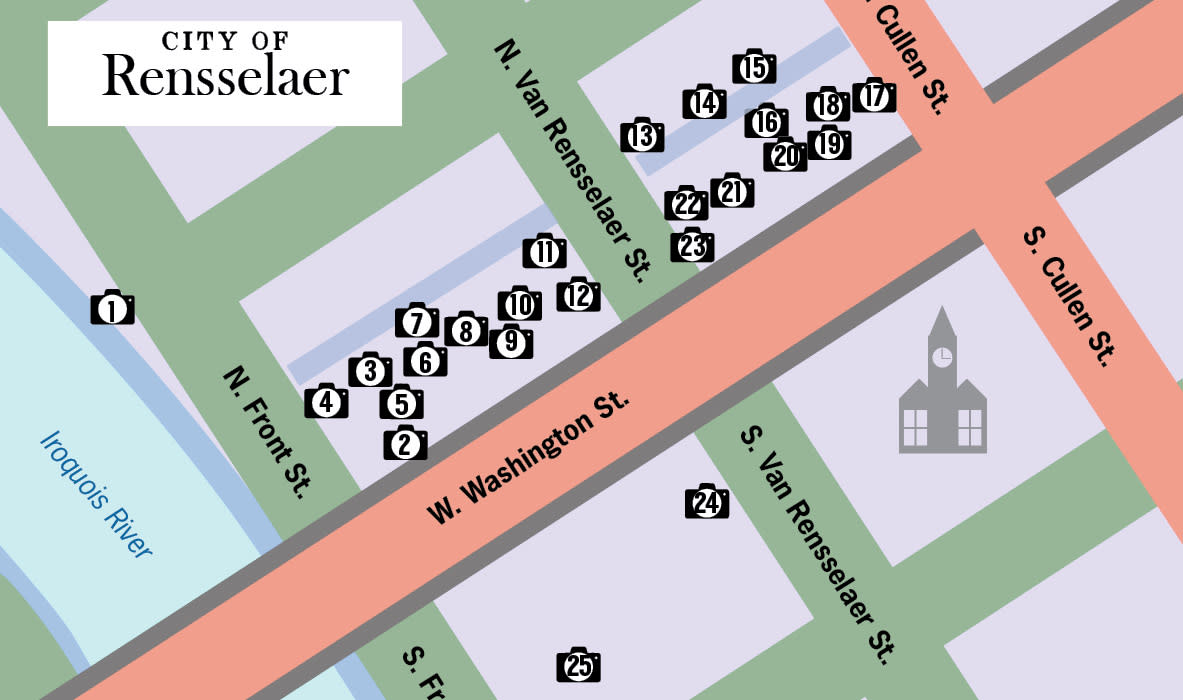 This map shows the route visitors can take for the Rensselaer Art Walk.