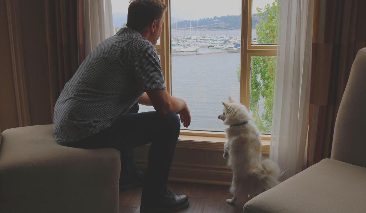 A man sits on a chair with his dog next to him on the floor as they look out the window of the Delta Hotel