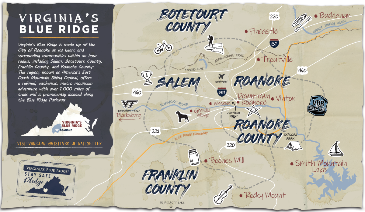 Virginia's Blue Ridge - Small Towns Map