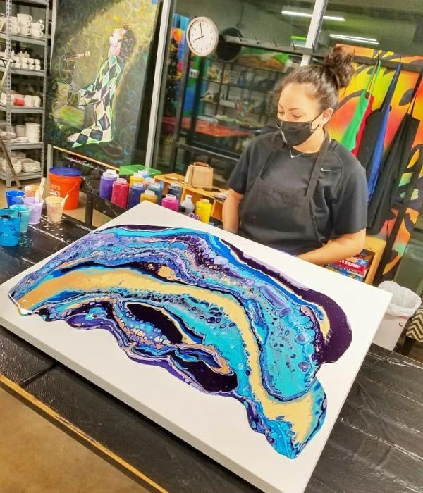 Paint marbling at Catalyst Creative Arts