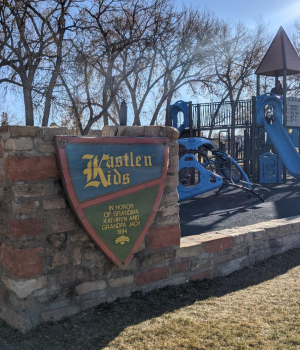 Kastle 'n' Kids Playground Sign at Holliday Park, Cheyenne, Wyoming