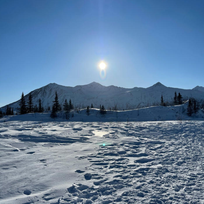 Sun and Mountains near black rapids
