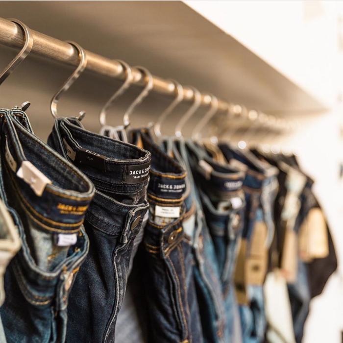 Hanging Denim Jeans at the Denim Lab Irvine Spectrum