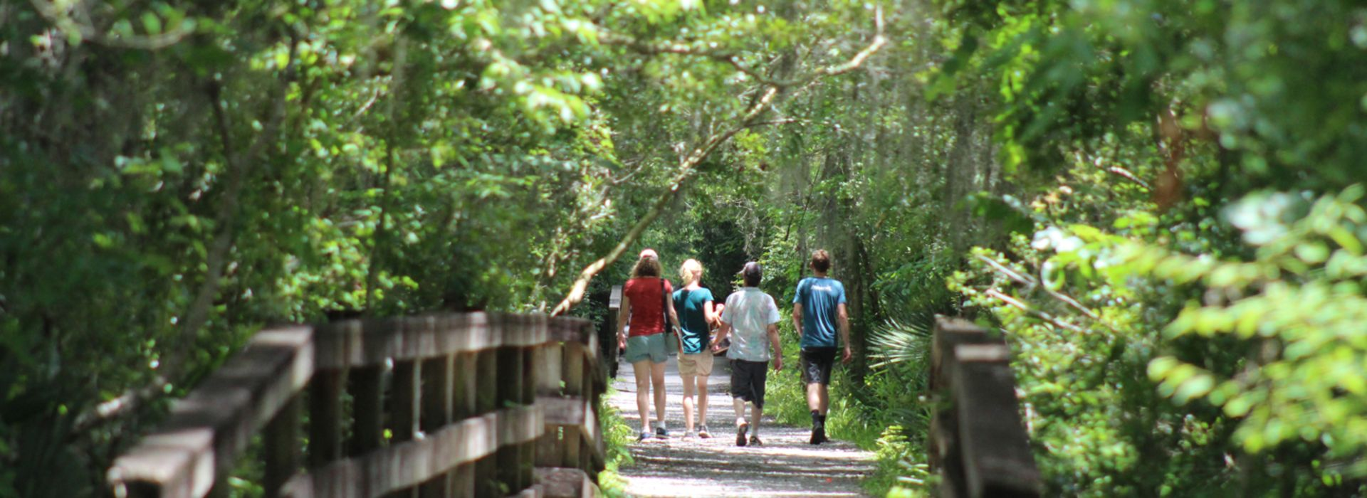 People walking along a Barataria Preserve trail in Marrero, LA