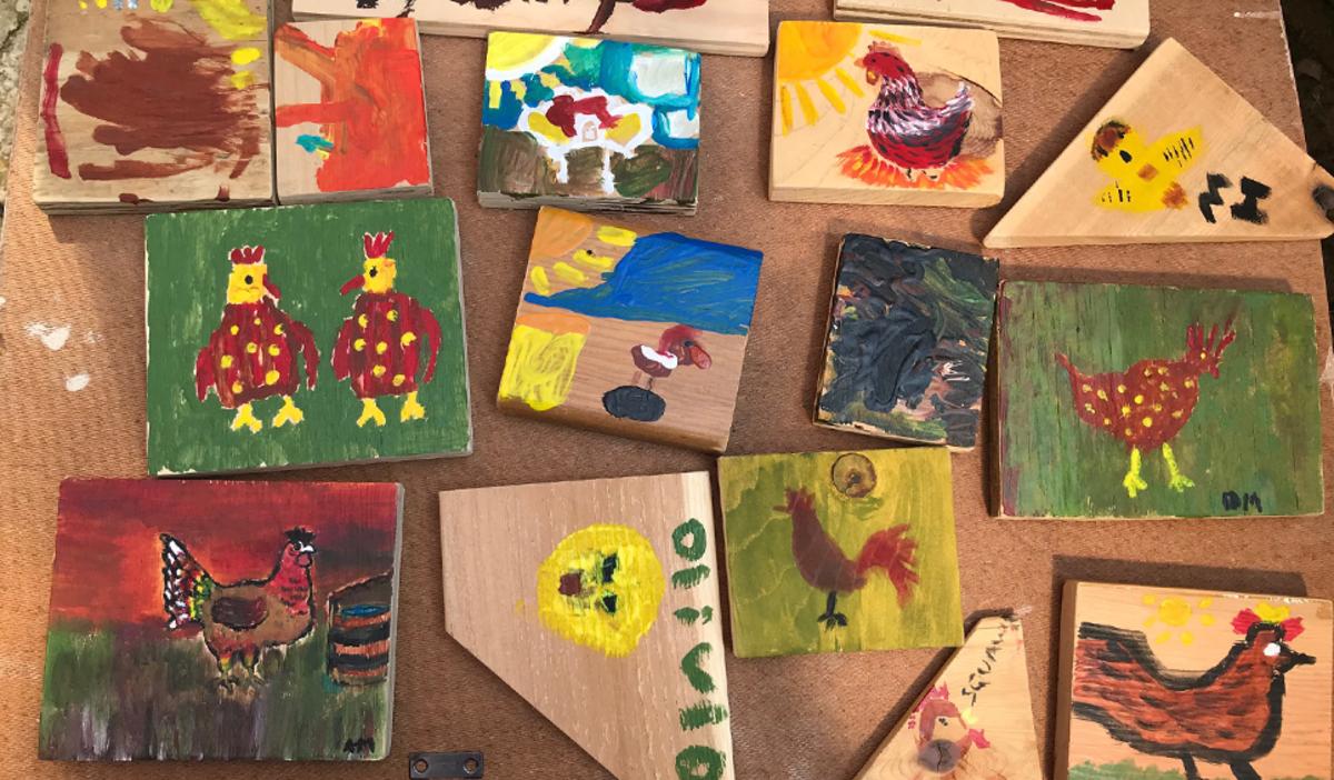 Painted chickens at Art Barn's Art Blitz 2021