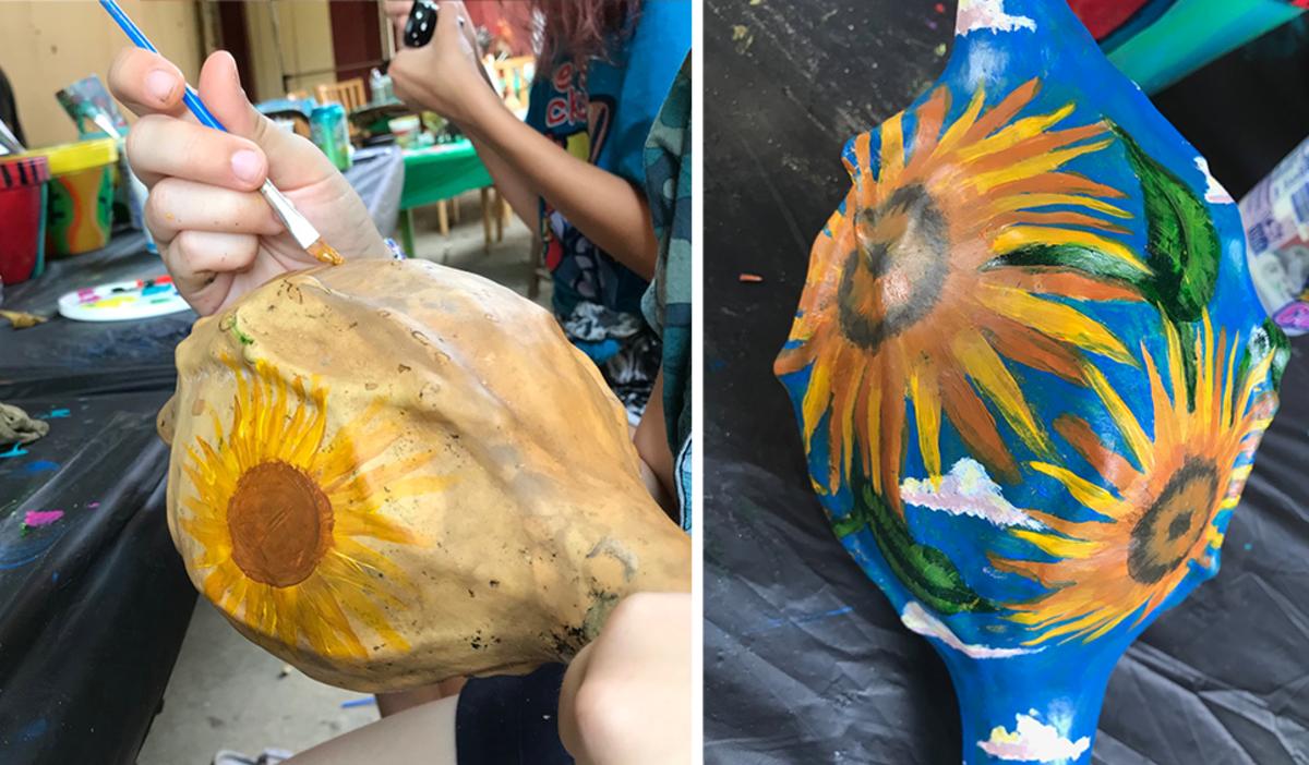 Painted gourd at Art Barn's Art Blitz 2021
