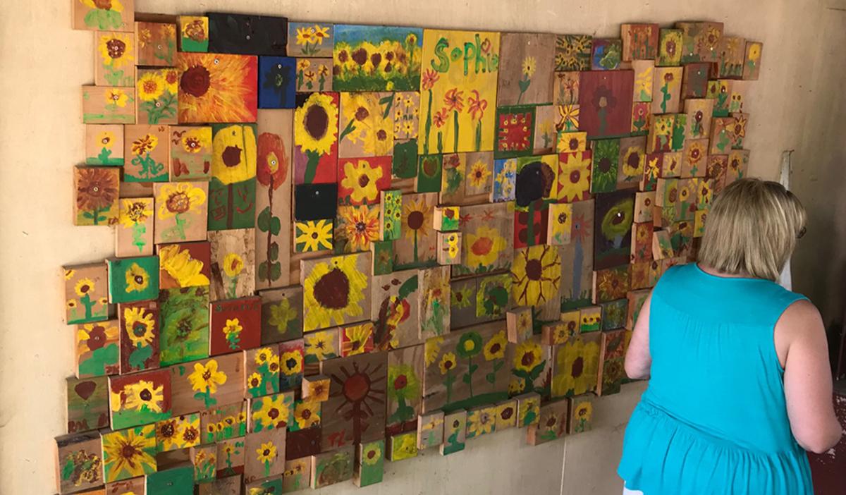 Sunflower mural at Art Barn's Art Blitz 2021