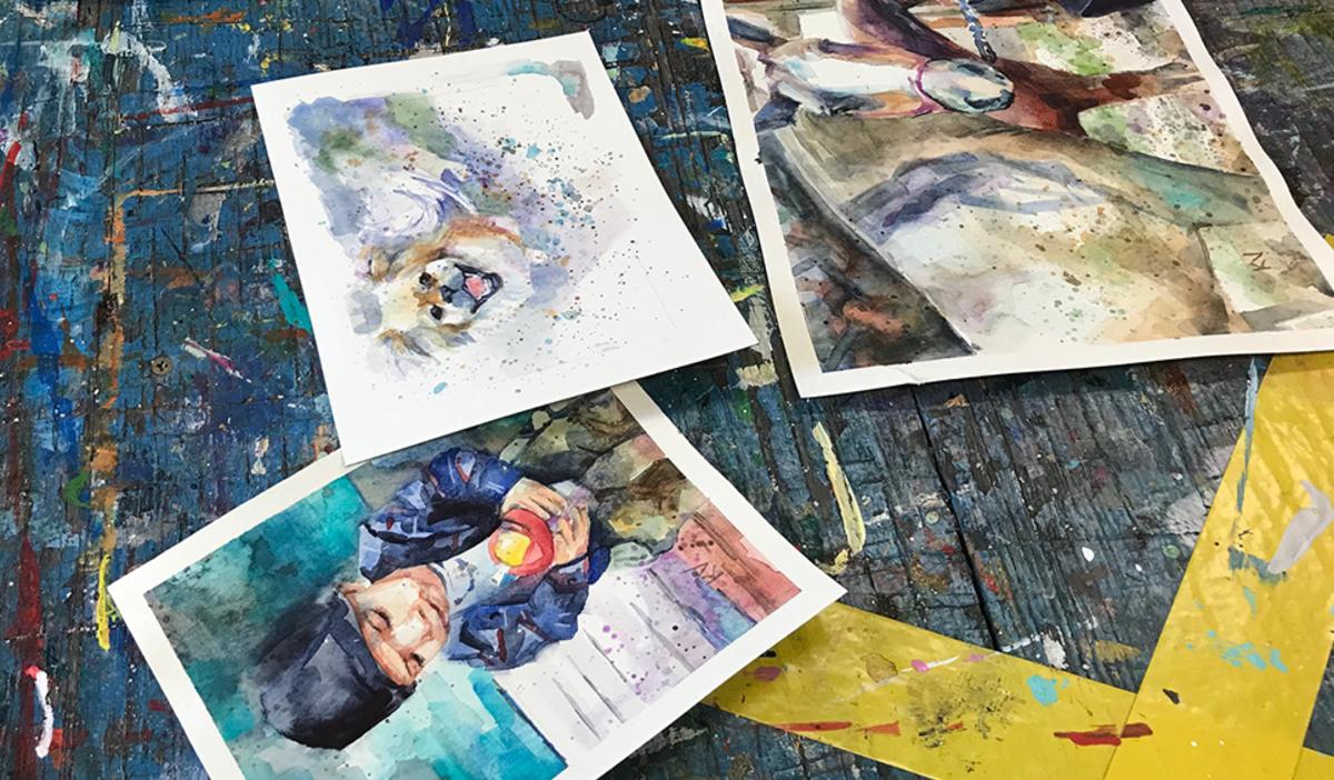 Watercolor paintings at Art Barn's Art Blitz 2021
