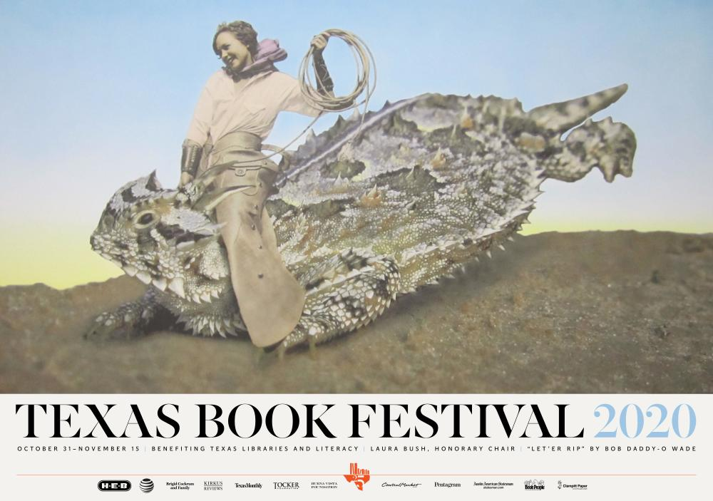 Poster with woman lassoing honred frog reads Texas Book Festival 2020 October 31 to November 15 benefiting Texas libraries and literacy