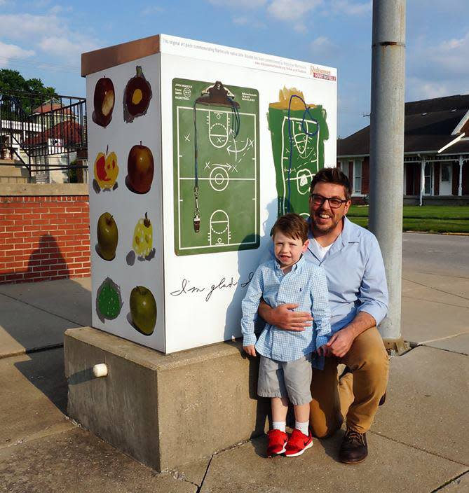 Dave & Sam Baldwin with their design in the Wisdom of Wooden public art project..