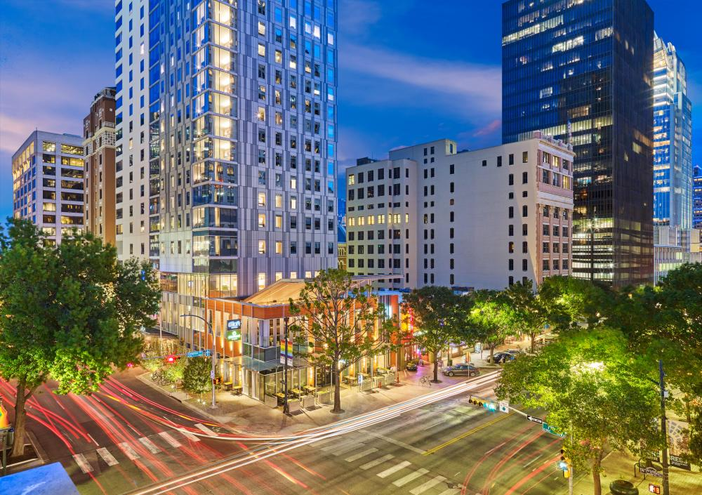 Aloft and Element Downtown Austin Hotels from the street