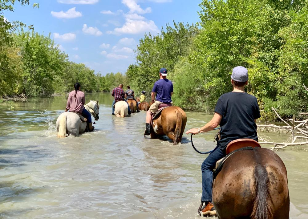horseback riding through creek with Maverick Horseback Riding in Lockhart near Austin Texas