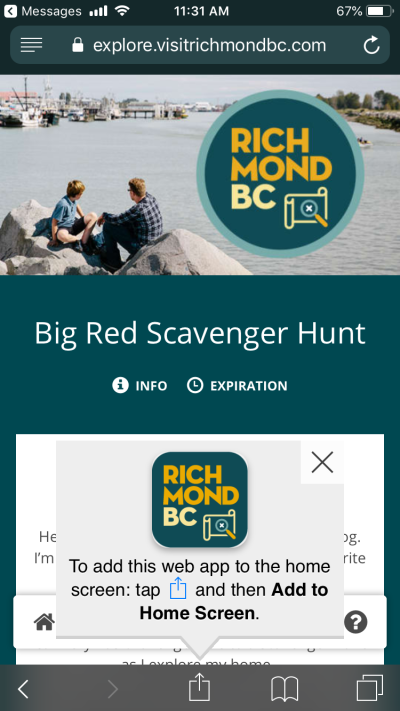 Big Red Scavenger Hunt screenshot - tap to add web app to home screen