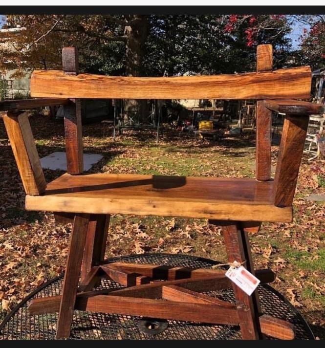 A homemade wooden bench.