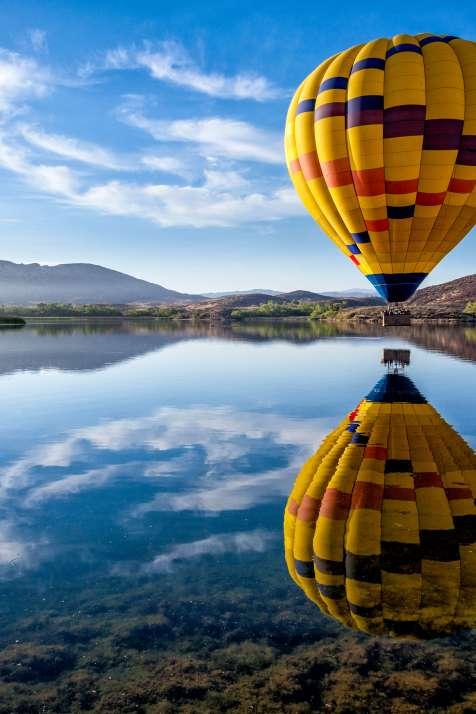 Hot Air Balloon Over Lake