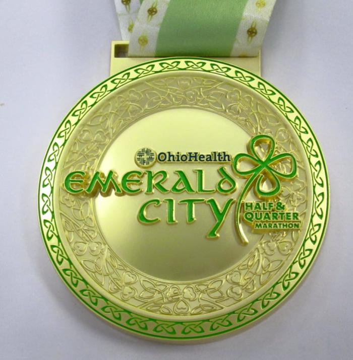 Emerald City Marathon Irish-themed finishers medal.