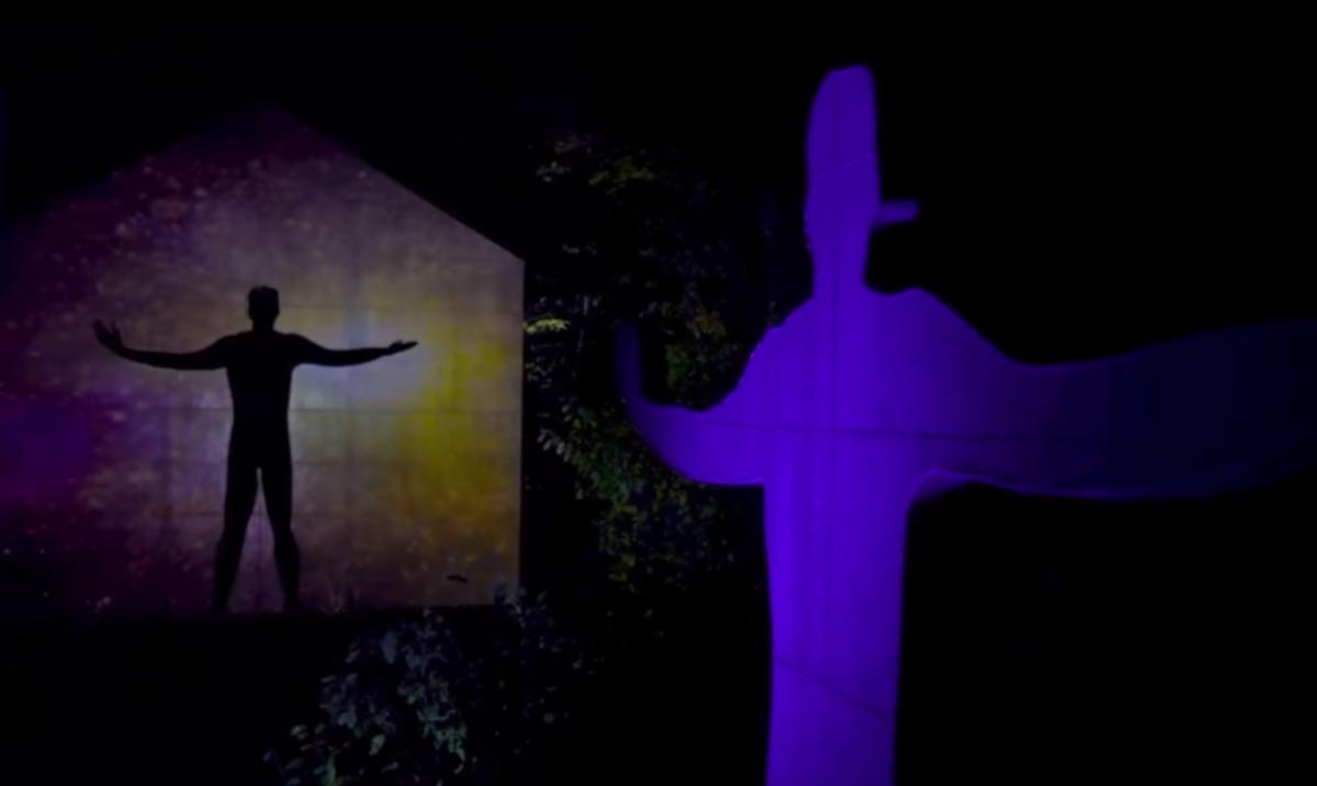 sculpture park, night, illuminated