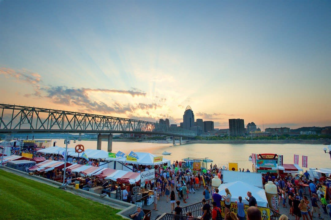Glier's Goettafest in Northern Kentucky on the Ohio river with a view of the Cincinnati Skyline