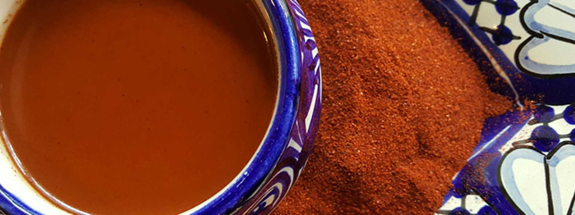 A batch of red chili cocoa elixir from Kakawa Chocolate House in Santa Fe
