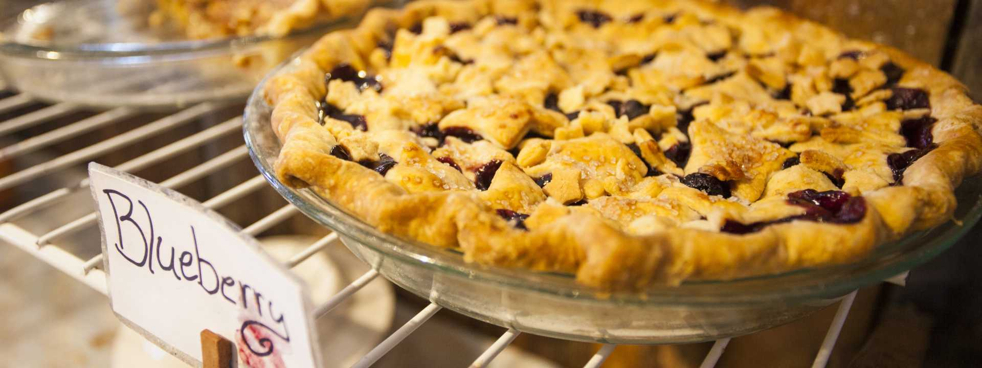 A freshly-baked blueberry pie on display at Pie Town's annual Pie Festival.