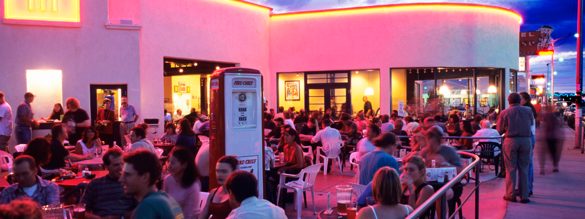 A restaurants patio lit up with neon lights in Albuquerque's Nob Hill neighborhood
