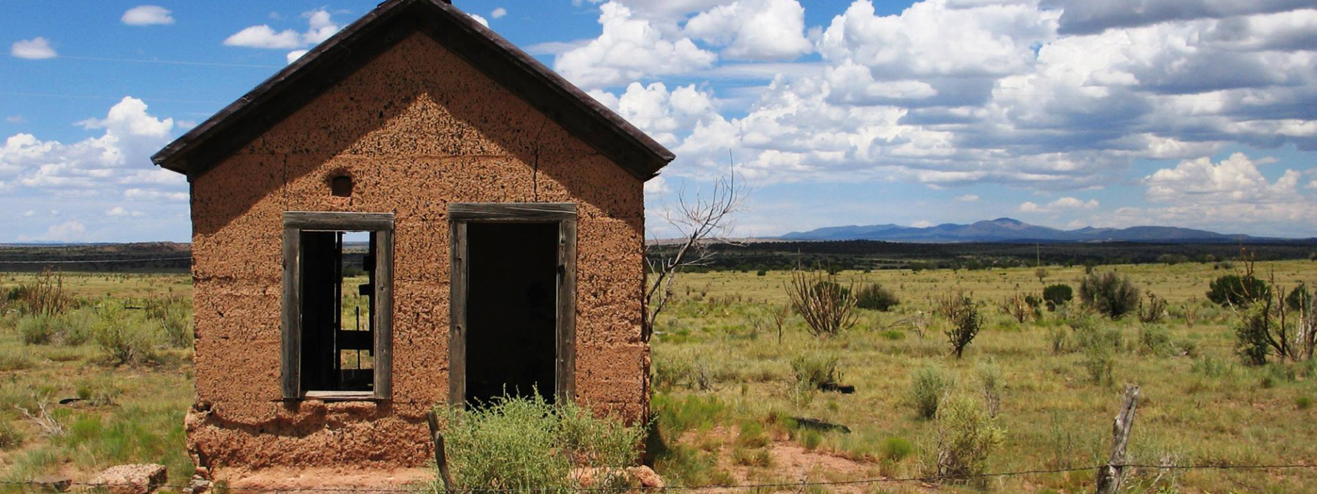 An abandoned house in the ghost town of Ancho, New Mexico
