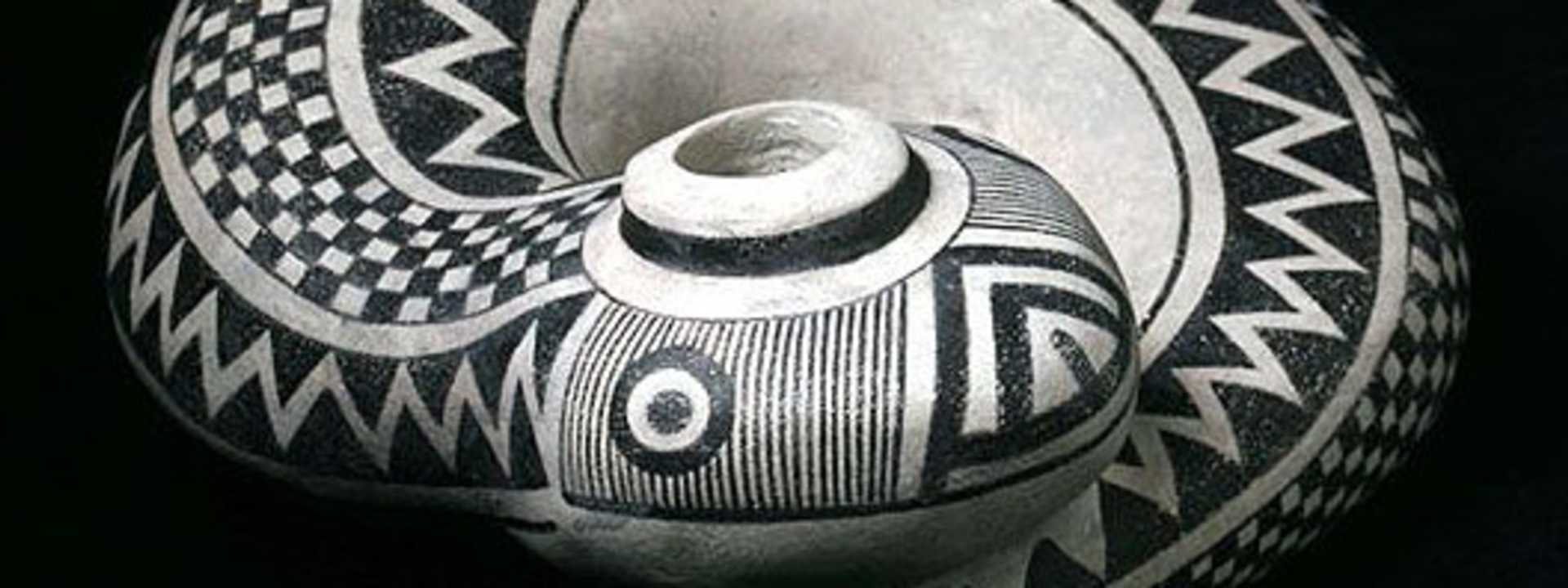 An example of Native American pottery from the Southwest featuring traditional geometric designs.
