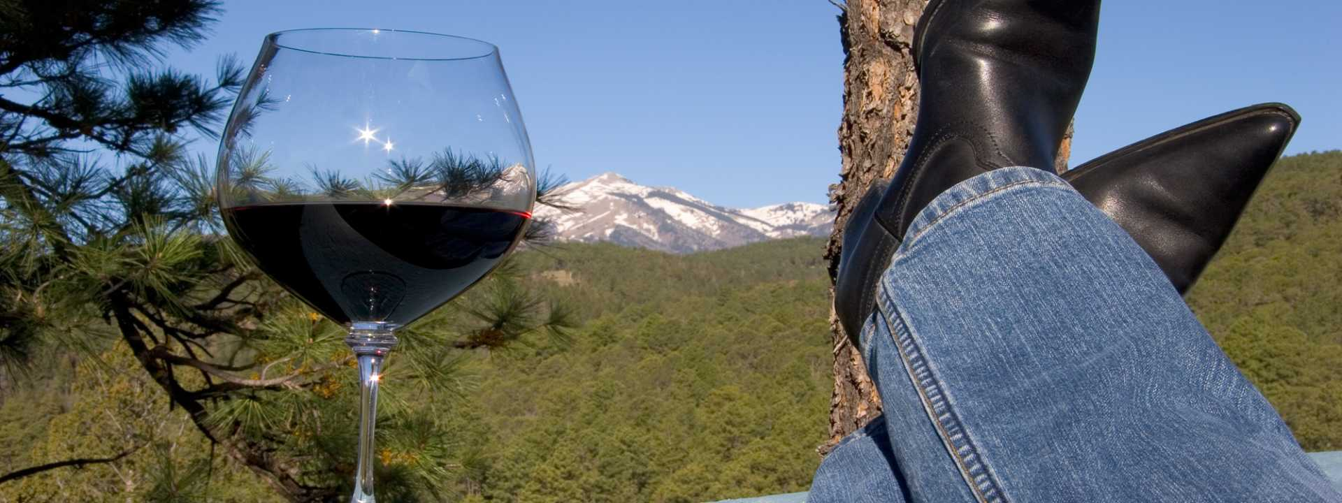 Relax with a view of the mountains and a glass of New Mexico Pinot Noir