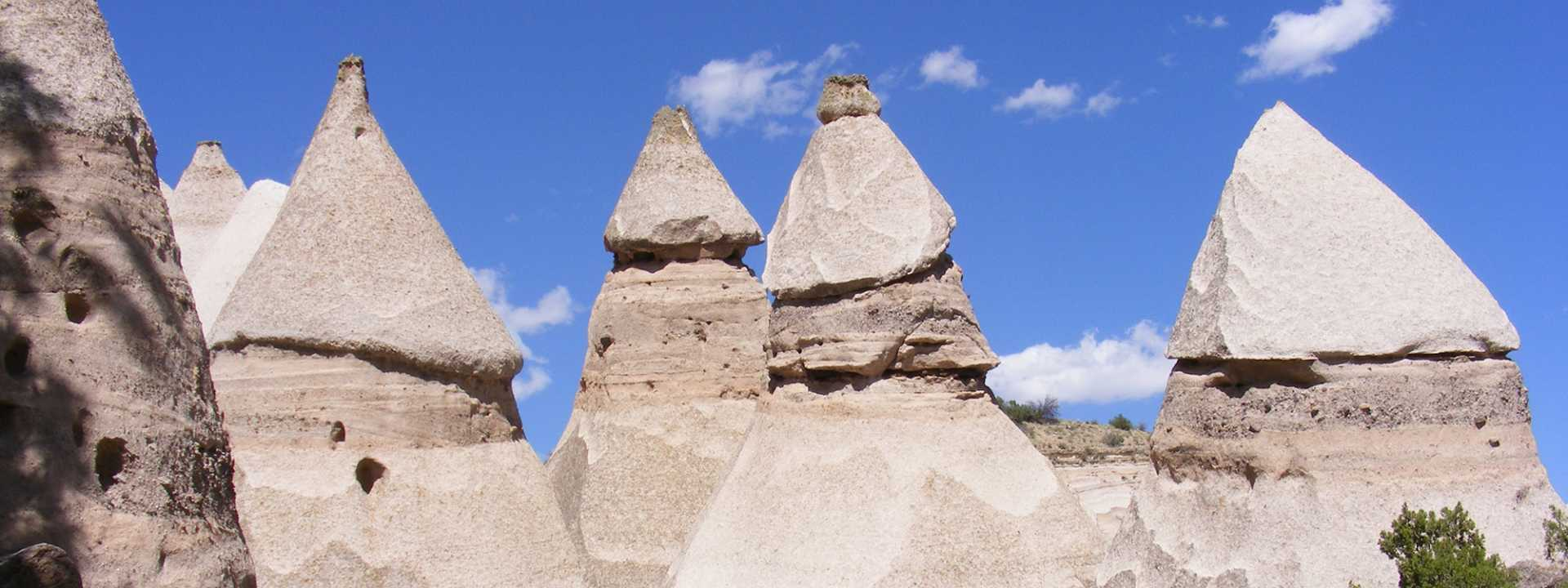 An image of the unique structures at Kasha-Katuwe Tent Rocks National Monument in New Mexico.
